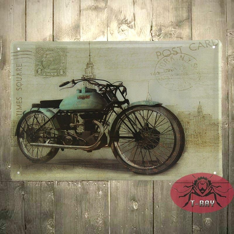 Motorcycle Wall Mural Garage Oil Station Tin Signs Wall Art Decor Inside Motorcycle Wall Art (Image 19 of 25)