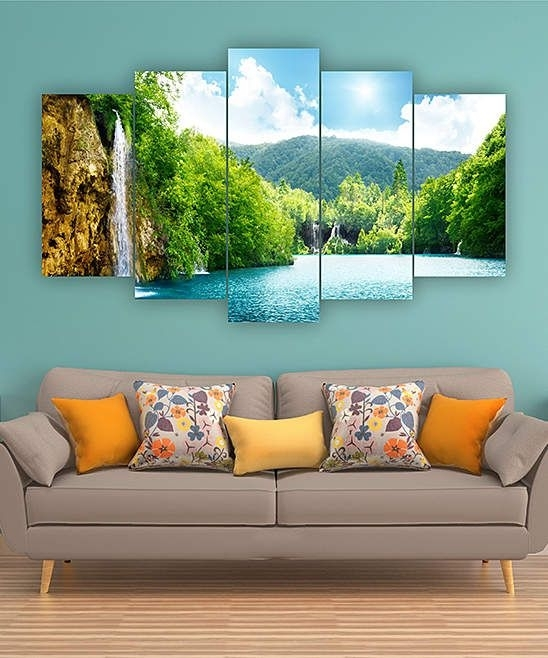 Mountain Waterfall Five Piece Horizontal Wall Art | Home Decor For Horizontal Wall Art (Image 19 of 25)