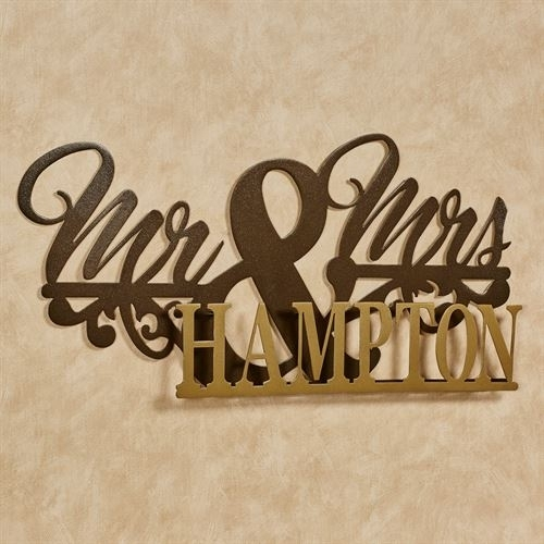 Mr And Mrs Gold Bronze Wedding Marriage Personalized Metal Wall Art Sign Within Personalized Metal Wall Art (Image 18 of 20)