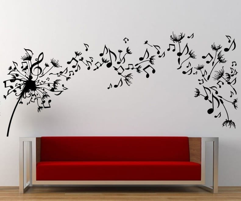 Music Dandelion Wall Art Decal | Wall Decal | Wall Art Decal In Dandelion Wall Art (Image 18 of 25)