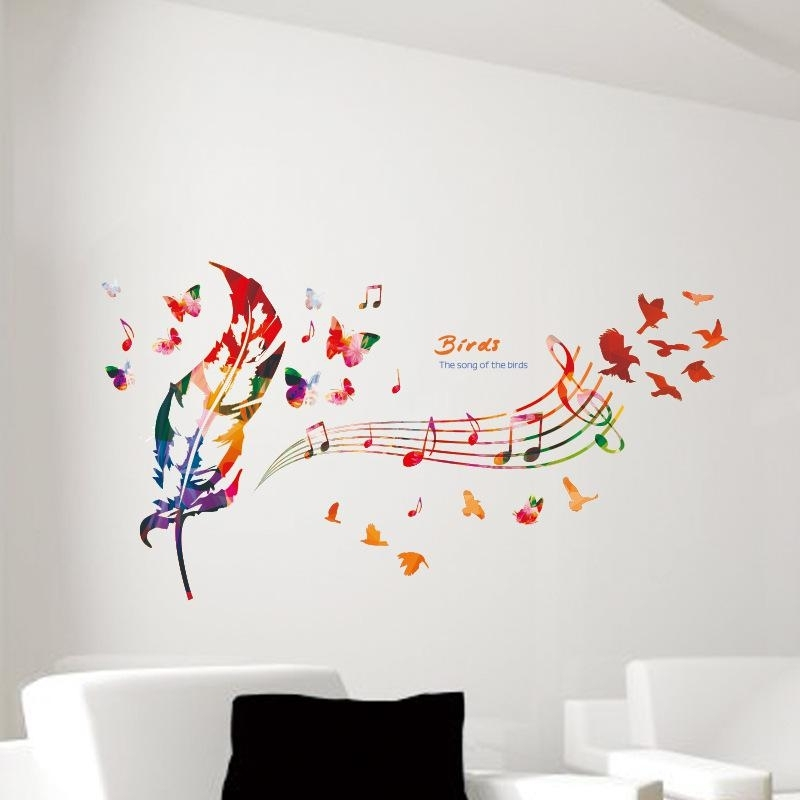 Music Note Colorful Feather Wall Decals Butterfly Pattern The Song With Regard To Home Wall Art (View 12 of 25)