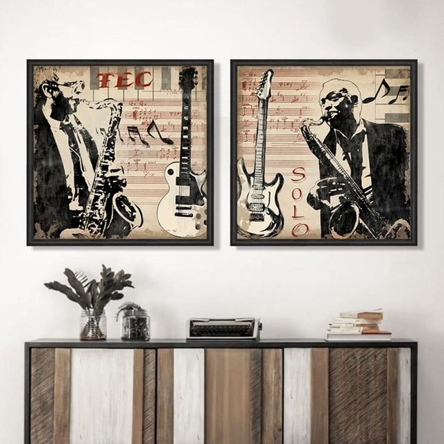 Musical Instrument Saxophone Men Portrait Pop Art Canvas Wall Art Pertaining To Wall Art For Men (View 7 of 10)