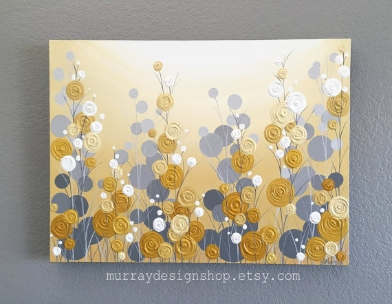 Mustard Yellow And Grey Wall Art, Textured Painting, Abstract With Regard To Grey Wall Art (View 21 of 25)