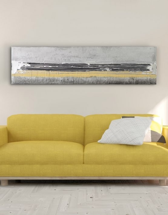 Mustard Yellow – Contemporary Original Painting – Silver Wall Art Pertaining To Yellow Wall Art (Image 8 of 20)