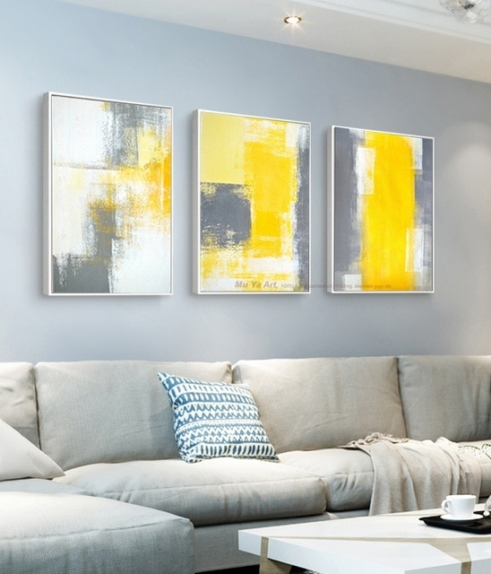Muya 3 Piece Canvas Painting Abstract Oil Painting Handmade Bright For Yellow Wall Art (Image 9 of 20)