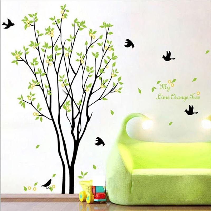 My Lime Orange Tree Wall Art Mural Wall Decal Sticker Green Tree Throughout Wall Tree Art (Image 10 of 20)