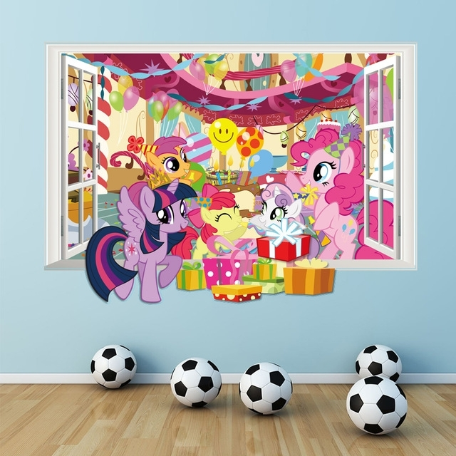 My Little Pony Wall Decals For Kids Room 3D Window Stickers Diy For My Little Pony Wall Art (View 5 of 20)