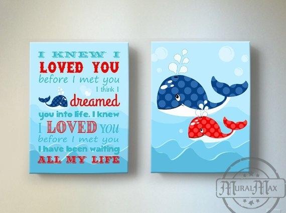 Nautical Kids Wall Art Boys Wall Art Whale Canvas Art Boys | Etsy within Whale Canvas Wall Art