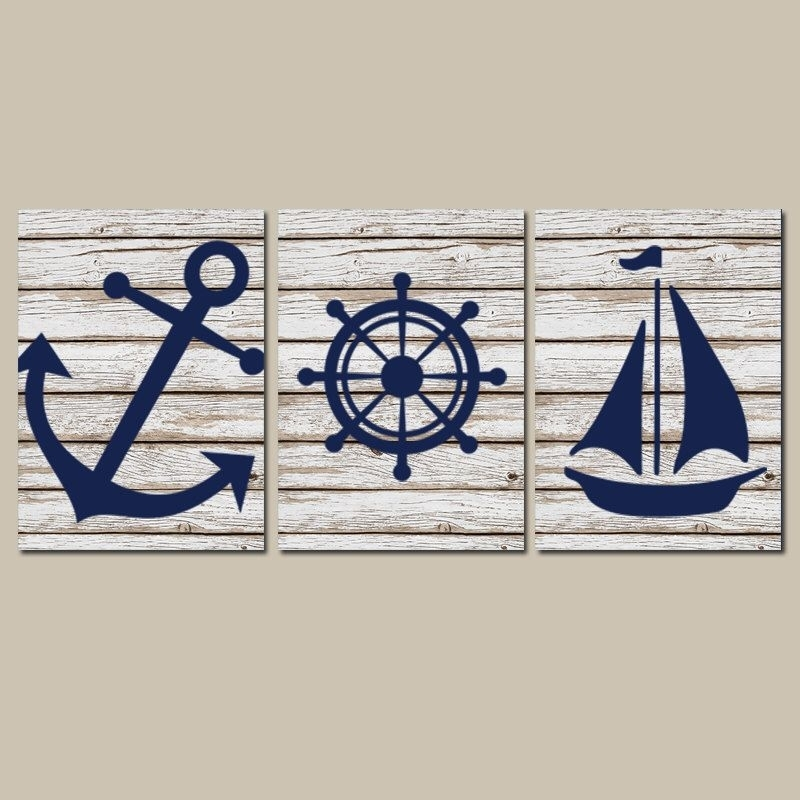 Nautical Nursery Art, Nautical Wall Decor, Anchor Sailboat Canvas Or Within Nautical Wall Art (View 3 of 10)