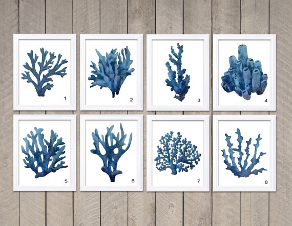 Navy Blue Coral Wall Art Coral Prints Coral Watercolor Wall Decor Throughout Coral Wall Art (Image 16 of 25)