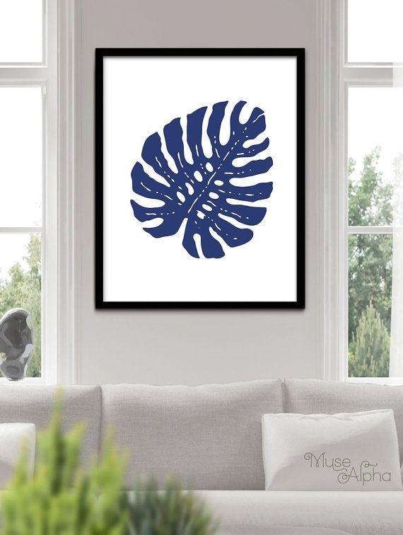 Navy Blue Tropical Decor, Indigo Blue California Wall Art, Ink Blue With California Wall Art (Image 18 of 20)