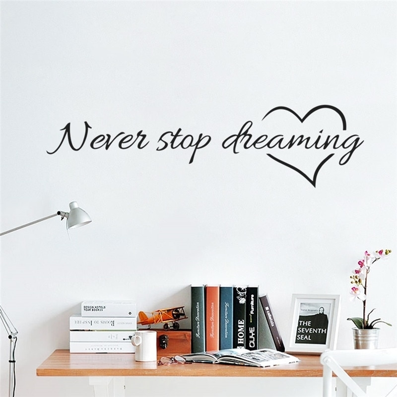 Never Stop Dreaming Inspiring Quotes Wall Stickers For Kids Rooms Within Inspirational Quotes Wall Art (Image 17 of 25)