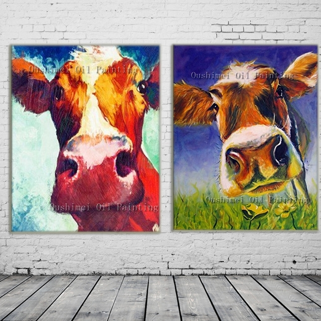 New 2017 Handmade Modern Mural Picture On Canvas Wall Art Cow Inside Cow Canvas Wall Art (View 9 of 25)