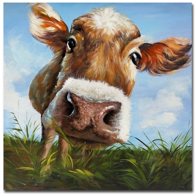 New 2017 Modern Mural Picture On Canvas Wall Art Cow Eating Grass Within Cow Canvas Wall Art (View 4 of 25)