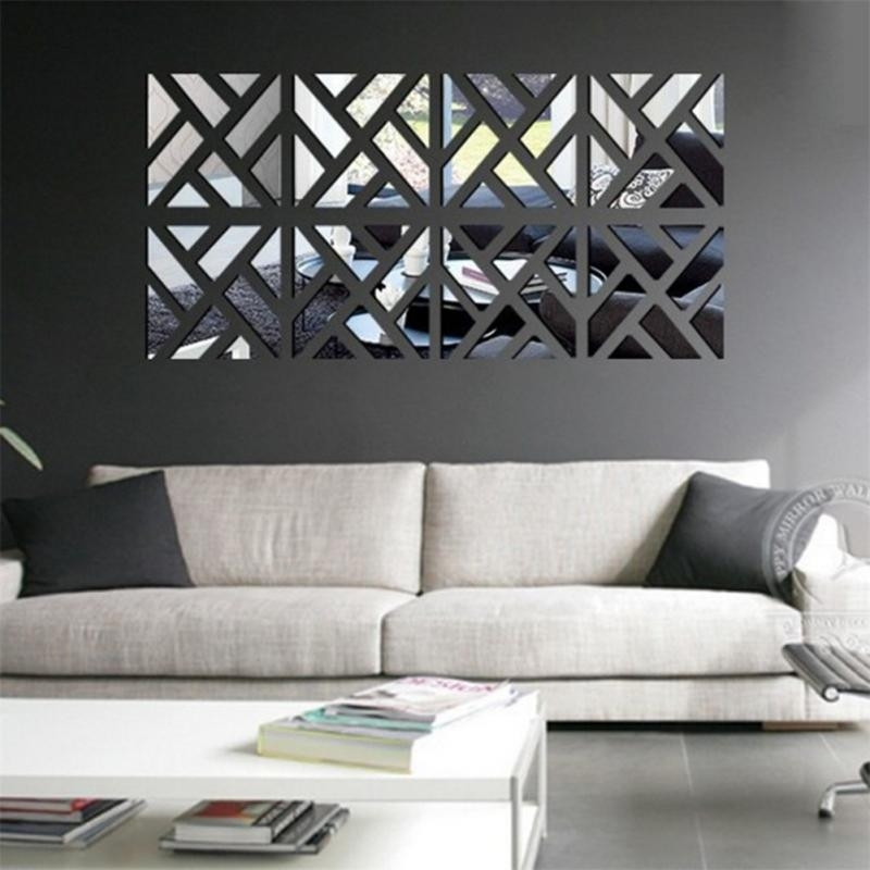 New 3D Acrylic Mirror Wall Stickers Square Living Room Bedroom In Mirror Wall Art (Image 8 of 10)