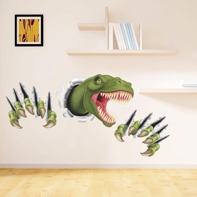 New 3D Stereo Dinosaur Break Through Wall Art Mural Poster Through With Regard To Dinosaur Wall Art (Image 17 of 20)