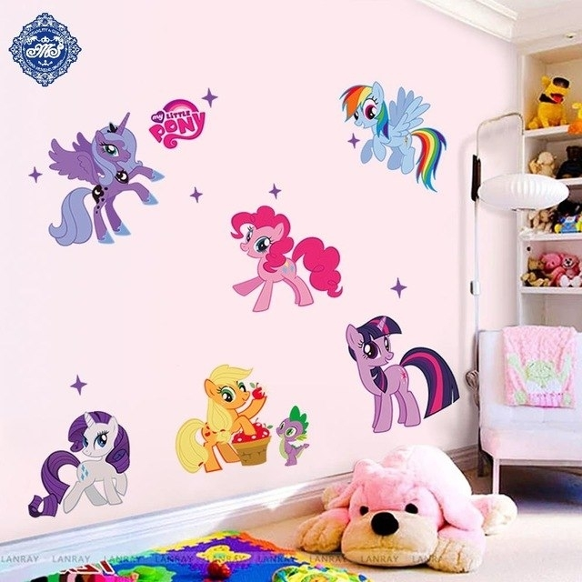 New Arrival Kid Cartoon Wall Stickers My Little Pony 6 Ponies Wall In My Little Pony Wall Art (View 7 of 20)