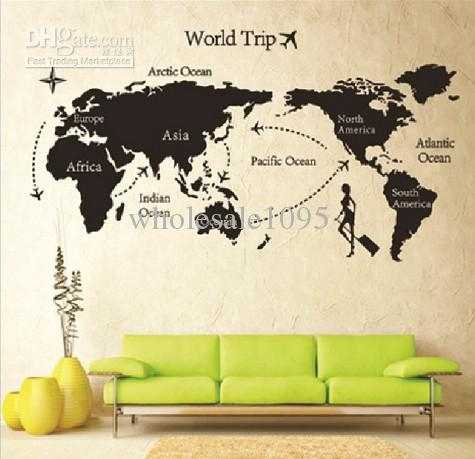New Arrive 80 * 140 Travel World Map Wall Sticker Living Room Wall For Wall Art Stickers World Map (Image 9 of 25)
