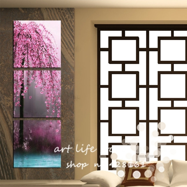 New Art 3 Pieces Canvas Wall Art On Canvas Pictures Painting Intended For Vertical Wall Art (Image 13 of 20)
