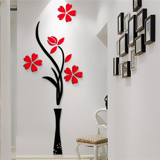 New Beautiful Design Red The Plum Flower Vase Acrylic Art Sticker 3D Throughout Home Wall Art (View 6 of 25)