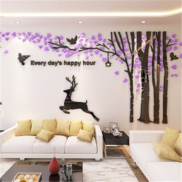 New Big 3D Acrylic Wall Stickers Tree Living Room Sofa Tv Background Pertaining To Acrylic Wall Art (Image 22 of 25)