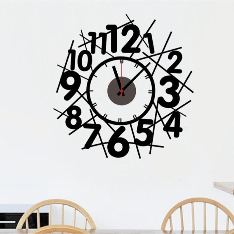 New Creative Abstract Diy Wallpaper Digital Wallpaper Clock Art Deco For Art Deco Wall Clock (View 10 of 25)