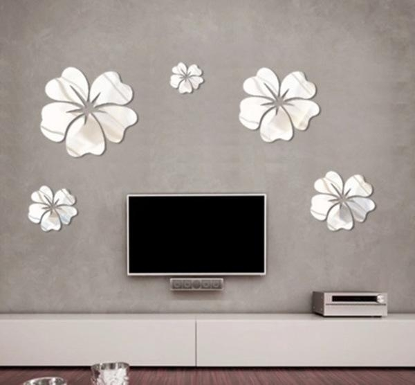 New Fashion Flower Mirror Wall Art Mural Decal Sticker Diy Home With Mirror Wall Art (Image 9 of 10)