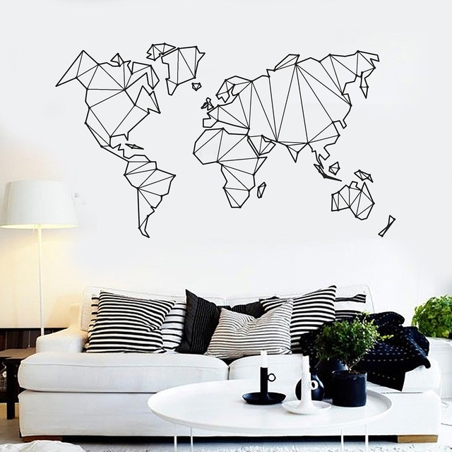 New Geometric World Map Vinyl Wall Decals Home Decor Living Room With Vinyl Wall Art World Map (Image 14 of 25)