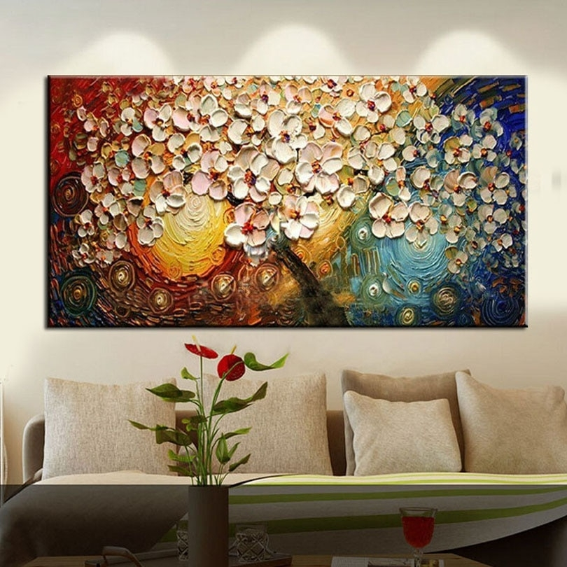 New Handmade Modern Canvas On Oil Painting Palette Knife Tree 3D Pertaining To Modern Painting Canvas Wall Art (View 17 of 25)