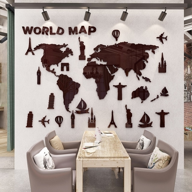 New World Map 3D Stereo Acrylic Wall Stickers Living Room Office Inside Wall Art Stickers World Map (Image 10 of 25)