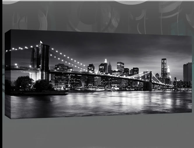New York Brooklyn Bridge Panoramic Black & White Canvas Wall Art 44 Regarding New York Wall Art (Image 11 of 25)