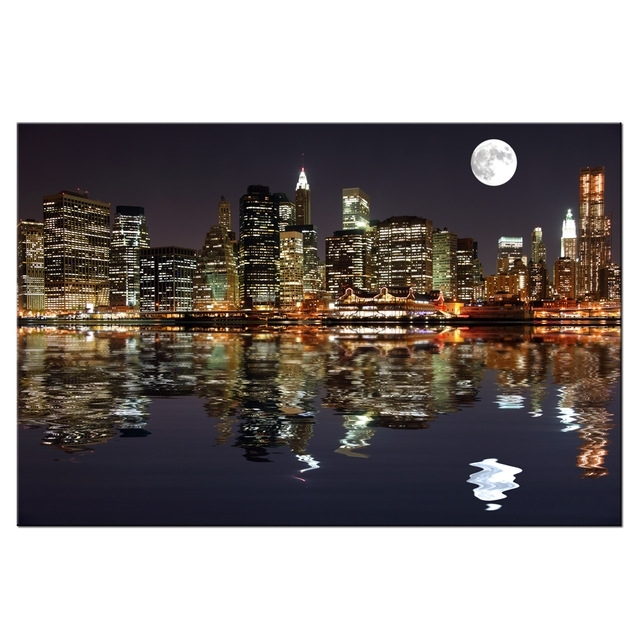 New York Night View Picture Canvas Prints Manhattan Skyline Moon Inside New York Canvas Wall Art (View 3 of 10)