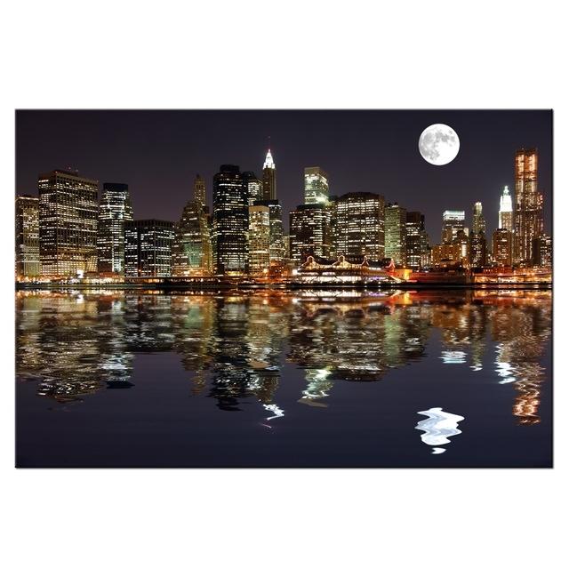 New York Night View Picture Canvas Prints Manhattan Skyline Moon inside New York Canvas Wall Art