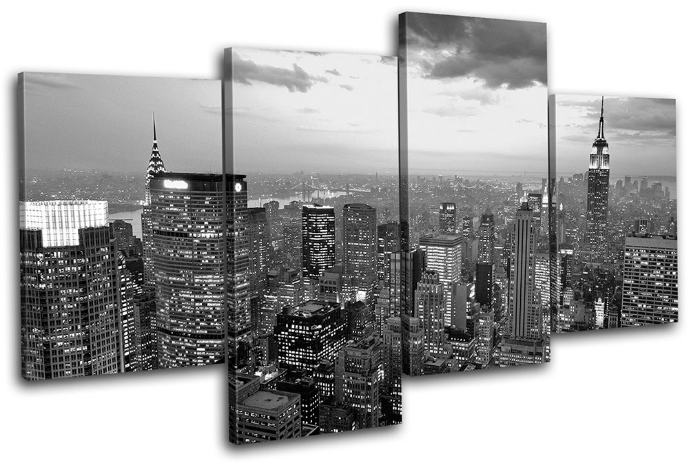 New York Nyc Skyline City Multi Canvas Wall Art Picture Print Va | Ebay Intended For New York Canvas Wall Art (Image 7 of 10)