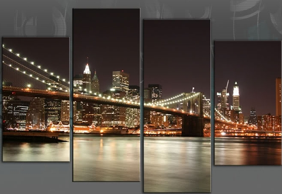 New York Reflections Xl Huge 60 Inch 153Cm Brooklyn Bridge 4 Panel Throughout New York Canvas Wall Art (View 4 of 10)