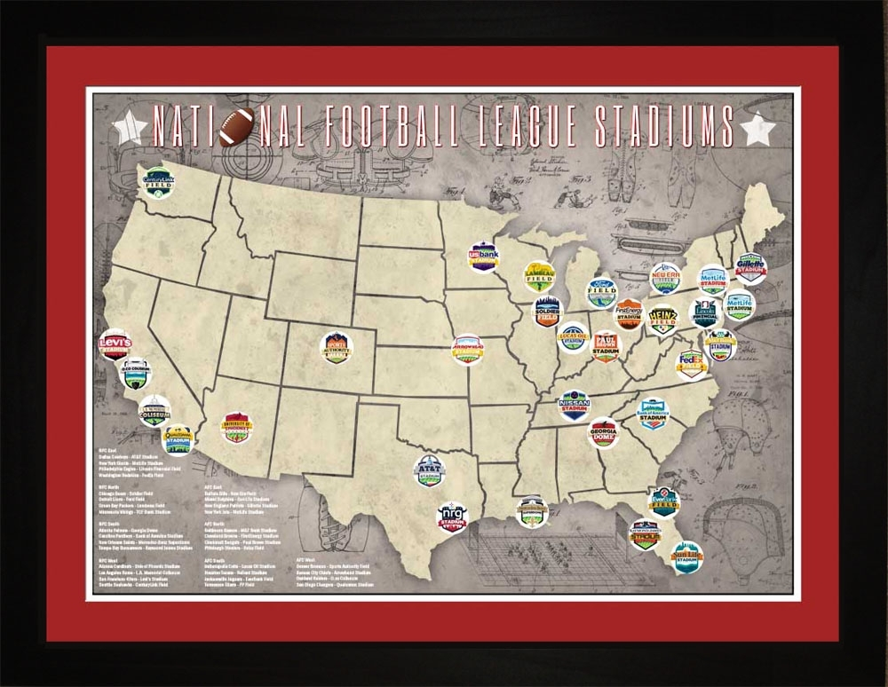 Nfl Stadiums Tracking Location Map | Gift Print Wall Art Throughout Nfl Wall Art (Image 10 of 20)