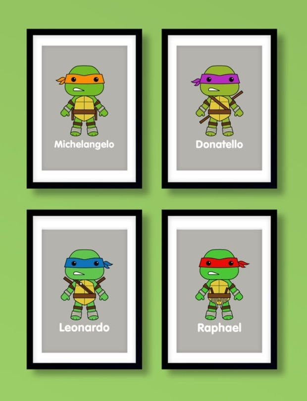 Ninja Turtles Wall Art, Boys Wall Art, Teenage Mutant Ninja Turtles Inside Ninja Turtle Wall Art (Image 19 of 25)