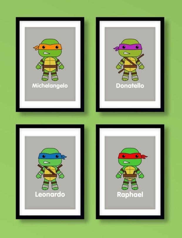 Ninja Turtles Wall Art, Boys Wall Art, Teenage Mutant Ninja Turtles Inside Ninja Turtle Wall Art (Image 19 of 25)