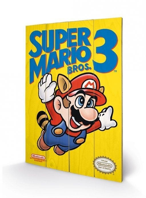 Nintendo - Super Mario Bros 3 (Nes Cover) - Wooden Wall Art intended for Nintendo Wall Art