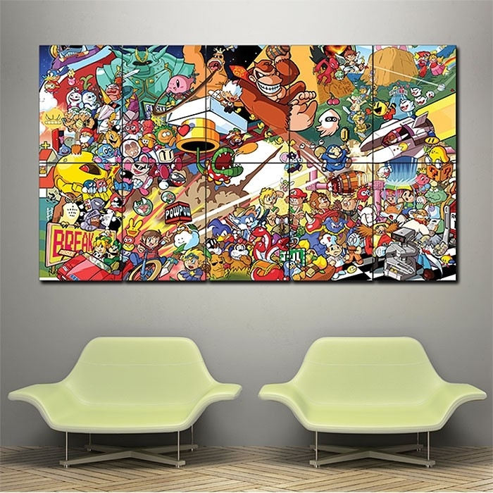 Nintendo Super Smash Bros All Star Romstation Block Giant Wall Art For Nintendo Wall Art (Image 6 of 20)