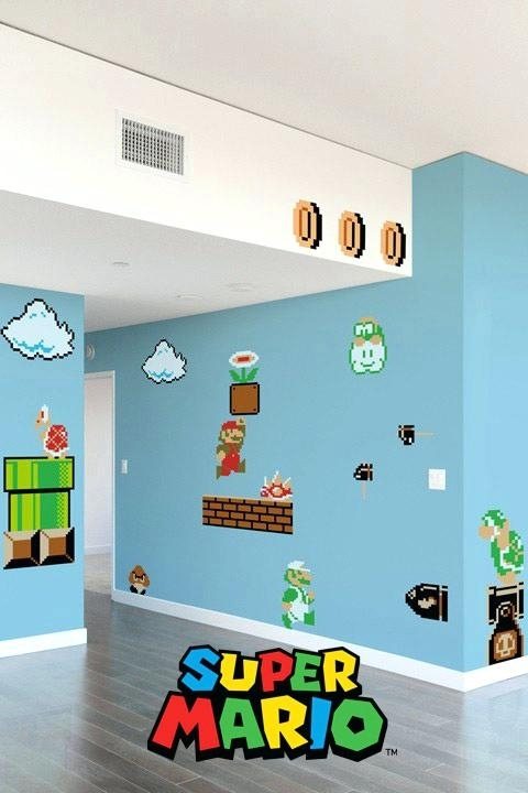 Nintendo Wall Decal Super Bros Giant Wall Stickers Wall Sticker Wall For Nintendo Wall Art (Image 11 of 20)