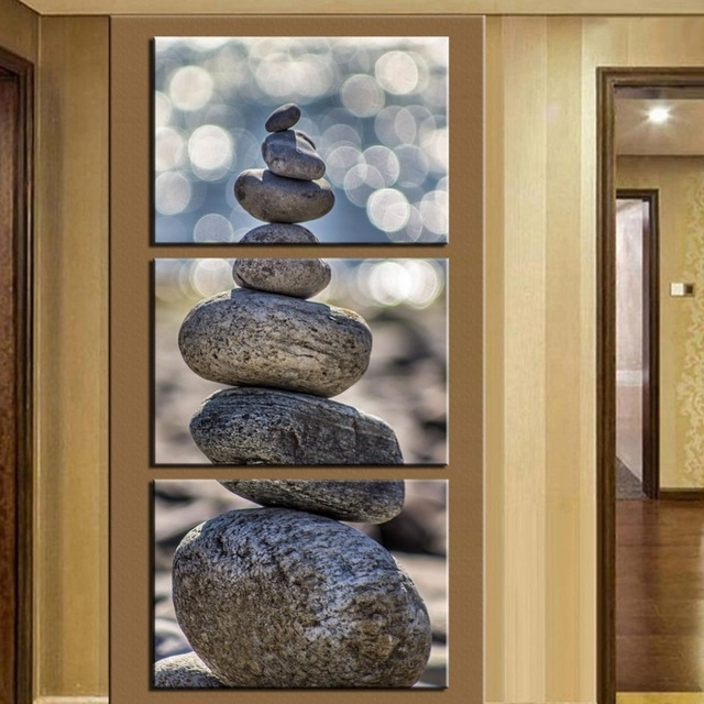 No Frame) 3 Piece Stone Scenery Modern Home Wall Decor Canvas throughout Vertical Wall Art