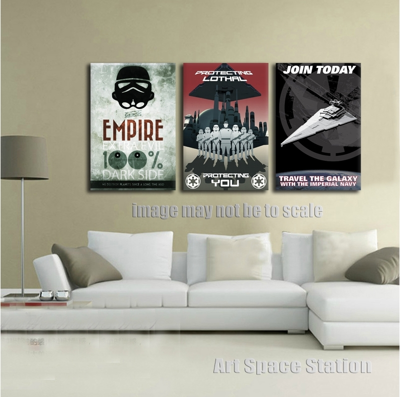 No Frame Black And White Poster Star Wars Empire Modern Canvas Wall Inside Black And White Large Canvas Wall Art (Image 19 of 25)