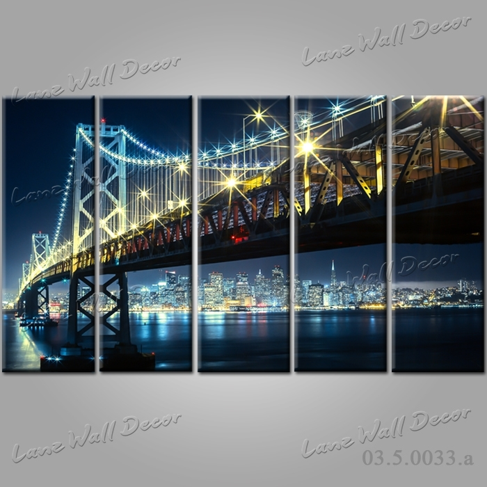 No Frame Canvas Only 5 Pieces New York San Francisco Bay Bridge in San Francisco Wall Art