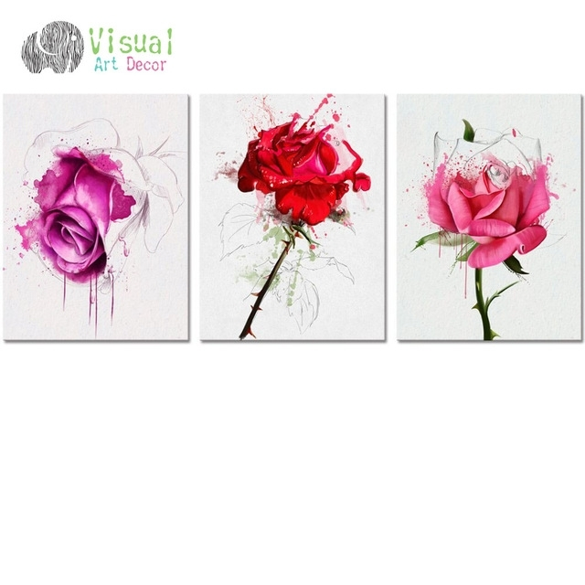 No Frame Diy Flower Canvas Wall Art Decor Watercolor Rose Painting Throughout Floral Wall Art (View 17 of 20)