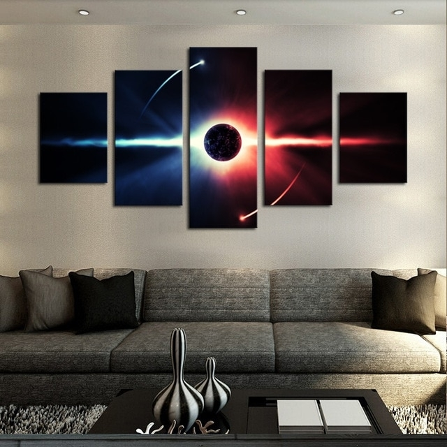 No Frame Large Hd Abstrac Planet Canvas Print Painting For Living Throughout 5 Panel Wall Art (View 11 of 25)
