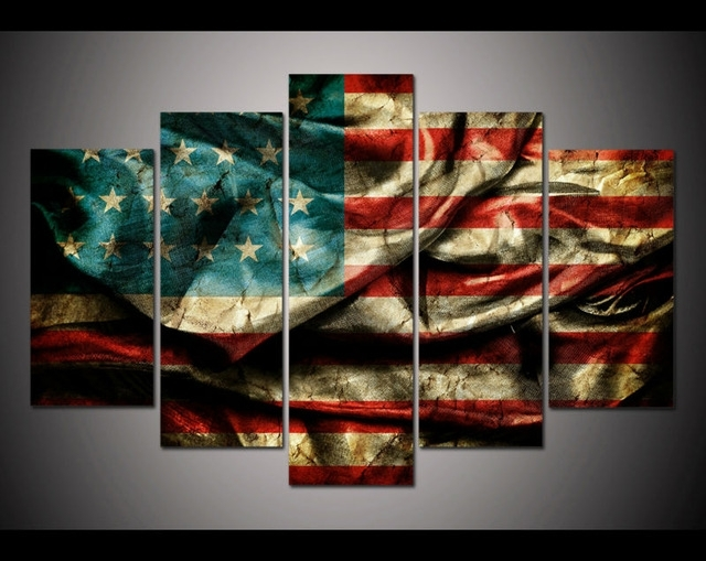 No Framed Print Retro Vintage American Flag Painting On Canvas Art Inside Vintage American Flag Wall Art (View 15 of 25)