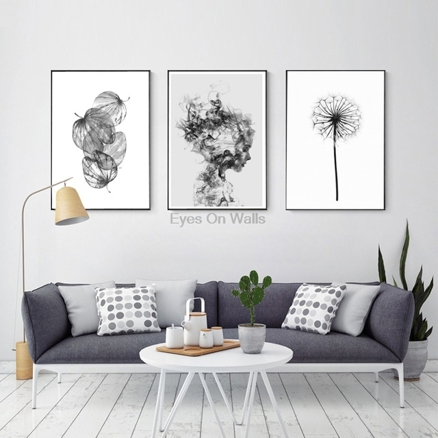 Nordic Abstract Poster And Prints Black White Wall Art Canvas For White Wall Art (View 18 of 20)