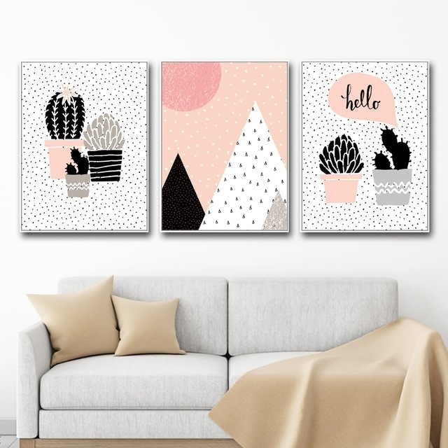 Nordic Canvas Painting Nordic Cactus Wall Art Painting Decorative Inside Cactus Wall Art (Image 14 of 20)