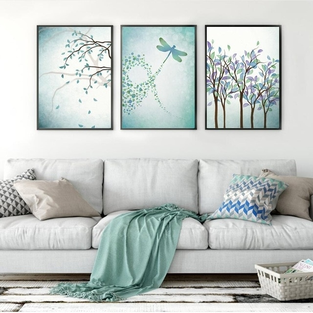Nordic Dragonfly Posters And Prints Plant Wall Art Canvas Painting With Dragonfly Painting Wall Art (View 2 of 25)